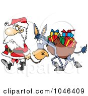 Royalty Free RF Clip Art Illustration Of A Cartoon Santa Walking With A Donkey by toonaday