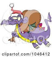 Royalty Free RF Clip Art Illustration Of A Cartoon Santa Dragon by toonaday