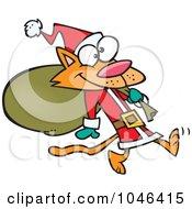 Royalty Free RF Clip Art Illustration Of A Cartoon Santa Cat Carrying A Sack