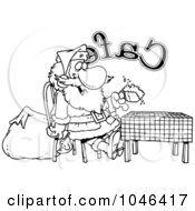 Cartoon Black And White Outline Design Of Santa Taking A Break In A Cafe