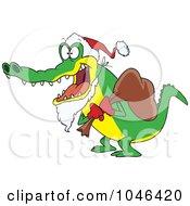 Royalty Free RF Clip Art Illustration Of A Cartoon Santa Alligator by toonaday