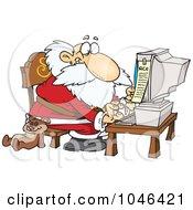 Royalty Free RF Clip Art Illustration Of A Cartoon Santa Using A Computer