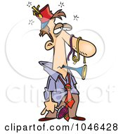 Royalty Free RF Clip Art Illustration Of A Cartoon Tired Businessman After A Party