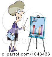 Royalty Free RF Clip Art Illustration Of A Cartoon Businesswoman Presenting A Bar Graph by toonaday