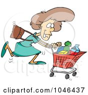 Royalty Free RF Clip Art Illustration Of A Cartoon Grocery Shopping Woman
