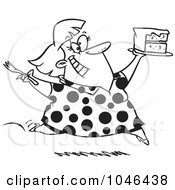 Royalty Free RF Clip Art Illustration Of A Cartoon Black And White Outline Design Of A Woman Running With Birthday Cake