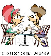 Royalty Free RF Clip Art Illustration Of Cartoon Friends Talking Over Coffee by toonaday