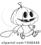 Royalty Free RF Clip Art Illustration Of A Cartoon Black And White Outline Design Of A Pumpkin Head Trick Or Treater
