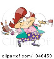 Royalty Free RF Clip Art Illustration Of A Cartoon Woman Eating Birthday Cake by toonaday