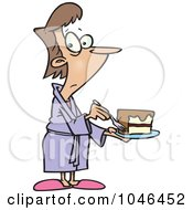 Royalty Free RF Clip Art Illustration Of A Cartoon Cheating Woman Eating Cake