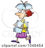 Royalty Free RF Clip Art Illustration Of A Cartoon Cautious Woman Covered In Pillows
