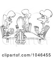 Royalty Free RF Clip Art Illustration Of A Cartoon Black And White Outline Design Of Ladies Playing Cards by toonaday