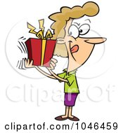 Royalty Free RF Clip Art Illustration Of A Cartoon Woman Shaking Her Gift