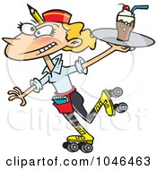 Royalty Free RF Clip Art Illustration Of A Cartoon Car Hop Waitress On Skates