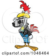 Royalty Free RF Clip Art Illustration Of A Cartoon Punky Rooster With A Boom Box by Ron Leishman