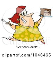 Royalty Free RF Clip Art Illustration Of A Cartoon Woman Running With Birthday Cake by toonaday