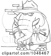 Cartoon Black And White Outline Design Of A Detective Elephant