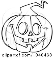Royalty Free RF Clip Art Illustration Of A Cartoon Black And White Outline Design Of A Happy Jackolantern by toonaday