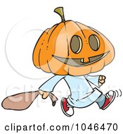 Royalty Free RF Clip Art Illustration Of A Cartoon Pumpkin Head Trick Or Treater
