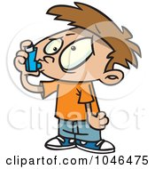 Royalty Free RF Clip Art Illustration Of A Cartoon Asthmatic Boy Using An Inhaler by toonaday