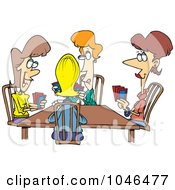 Royalty Free RF Clip Art Illustration Of A Cartoon Ladies Playing Cards by toonaday