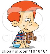 Royalty Free RF Clip Art Illustration Of A Cartoon Boy Using A Potty by toonaday