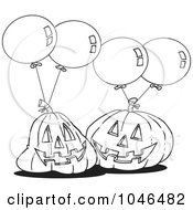 Royalty Free RF Clip Art Illustration Of A Cartoon Black And White Outline Design Of Jackolanterns And Party Balloons by toonaday