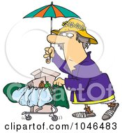 Cartoon Homeless Lady Pushing A Cart