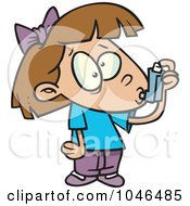 Royalty Free RF Clip Art Illustration Of A Cartoon Asthmatic Girl Using Her Inhaler Puffer by toonaday