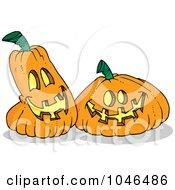 Royalty Free RF Clip Art Illustration Of Cartoon Happy Jackolanterns by toonaday