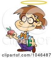 Royalty Free RF Clip Art Illustration Of A Cartoon Innocent School Boy With An Apple