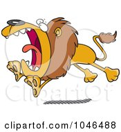 Royalty Free RF Clip Art Illustration Of A Cartoon Attacking Lion by toonaday