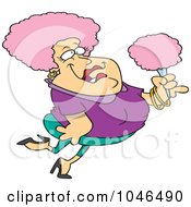 Royalty Free RF Clip Art Illustration Of A Cartoon Pink Haired Woman Holding Cotton Candy by toonaday