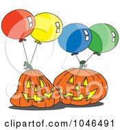Royalty Free RF Clip Art Illustration Of Cartoon Jackolanterns And Party Balloons