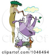 Royalty Free RF Clip Art Illustration Of A Cartoon Rhino Hanging On A Branch On A Cliff by toonaday