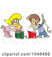 Royalty Free RF Clip Art Illustration Of A Cartoon Boy And Girl Opening Christmas Gifts
