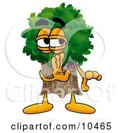 Tree Mascot Cartoon Character Whispering And Gossiping