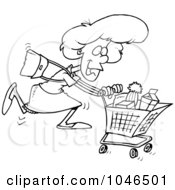 Royalty Free RF Clip Art Illustration Of A Cartoon Black And White Outline Design Of A Grocery Shopping Woman