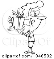 Royalty Free RF Clip Art Illustration Of A Cartoon Black And White Outline Design Of A Woman Shaking Her Gift