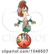 Royalty Free RF Clip Art Illustration Of A Cartoon Businesswoman Trying To Balance On A Ball