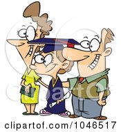 Royalty Free RF Clip Art Illustration Of A Cartoon Proud Mother And Father By Their Graduating Daughter