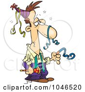 Royalty Free RF Clip Art Illustration Of A Cartoon Exhausted Businessman After A Party