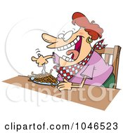Cartoon Fat Woman Eating Spaghetti