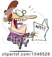 Royalty Free RF Clip Art Illustration Of A Cartoon Woman Reading Exciting News by toonaday