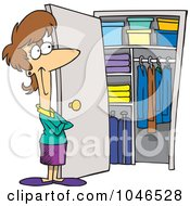 Royalty Free RF Clip Art Illustration Of A Cartoon Woman With A Clean Closet by toonaday