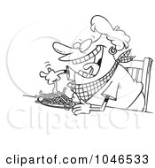 Royalty Free RF Clip Art Illustration Of A Cartoon Black And White Outline Design Of A Fat Woman Eating Spaghetti by toonaday