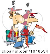 Royalty Free RF Clip Art Illustration Of Cartoon Gagged Sports Fan Parents by toonaday