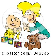 Royalty Free RF Clip Art Illustration Of A Cartoon Mom Playing Patty Cake With Her Baby