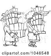 Cartoon Black And White Outline Design Of A Shaking Couple Carrying Packages