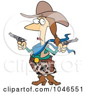 Royalty Free RF Clip Art Illustration Of A Cartoon Cowgirl Holding Guns by toonaday